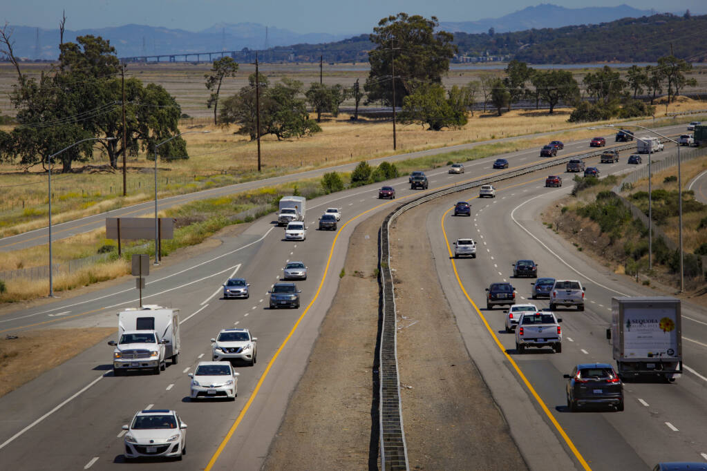 Traffic snakes through the Marin County side of the Sonoma-Marin Narrows on Monday, May 24, 2021. This portion of Highway 101 will soon receive funds to help widen the road to three lanes in each direction. (CRISSY PASCUAL/ARGUS-COURIER STAFF)