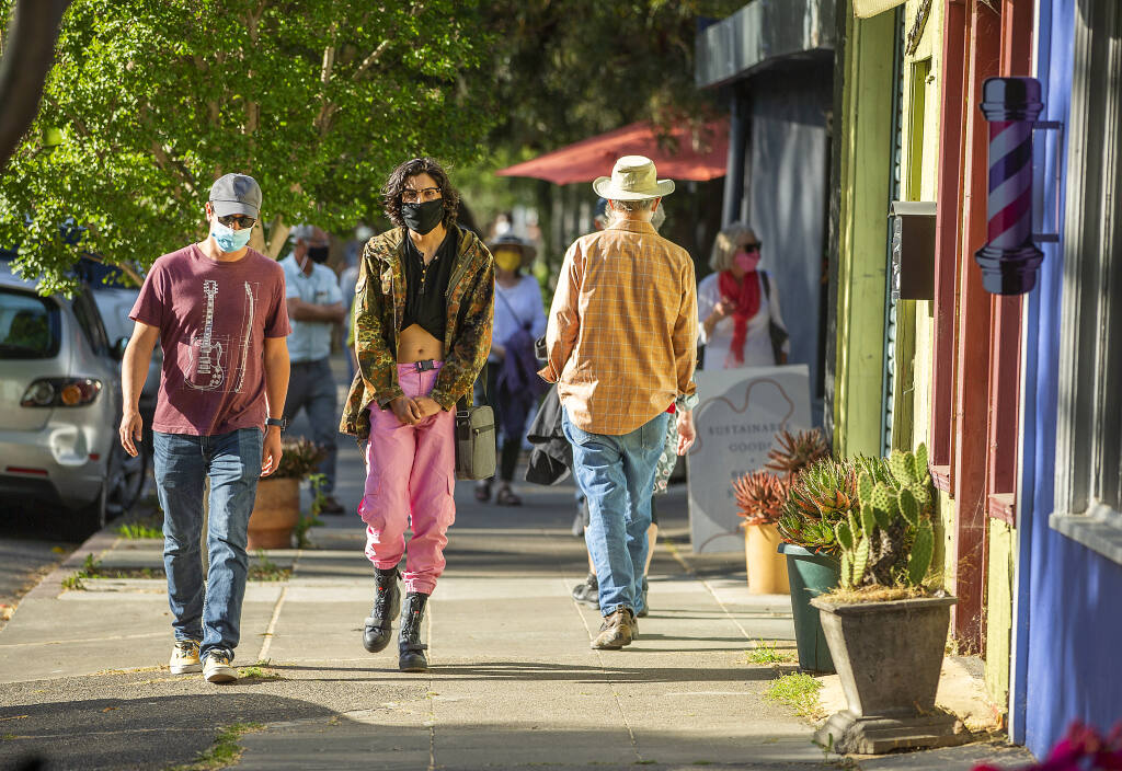 The first First Friday in Santa Rosa's SoFA district since the pandemic on Friday, May 7, 2021.  (John Burgess/The Press Democrat)