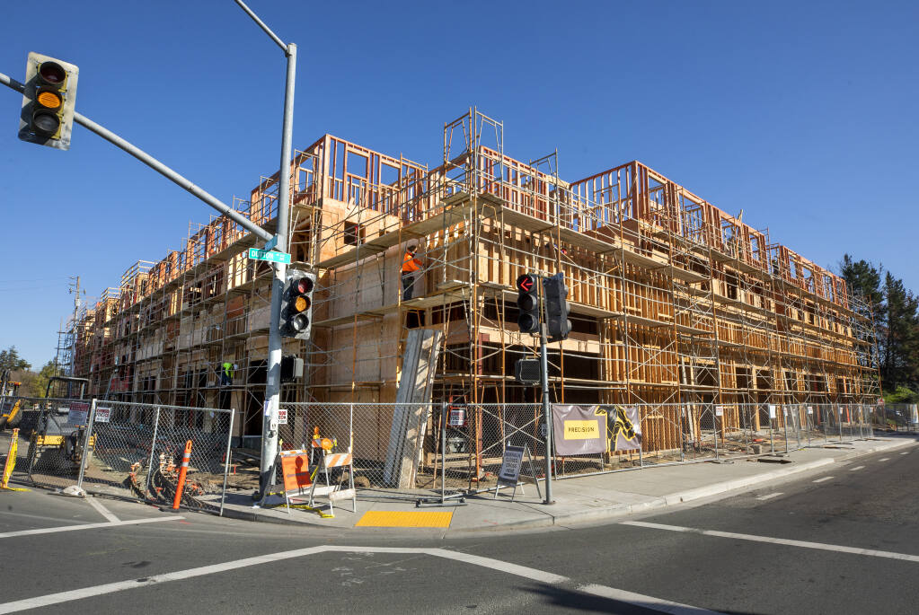 The Dutton Flats project at 3rd Street and Dutton Avenue in Santa Rosa will feature 41 affordable units in a 5-story building. Photo taken on Monday, March 1, 2021. (John Burgess/The Press Democrat)