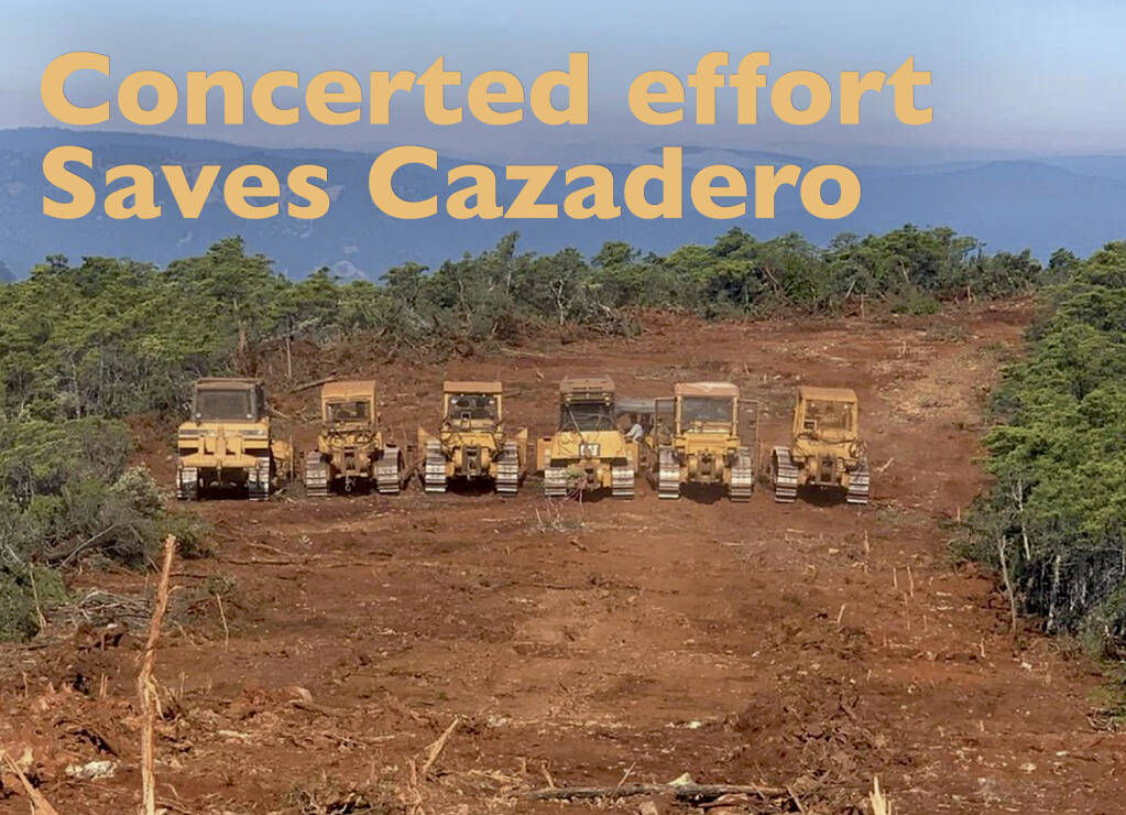 The now famous Cazadero Dozer Crew who created a multi-lane firebreak across the ridges of hills outside Cazadero and north of Rio Nido and Guerneville. We heard about the four-lane highway on top of the ridge and there it is. Seeing is believing!