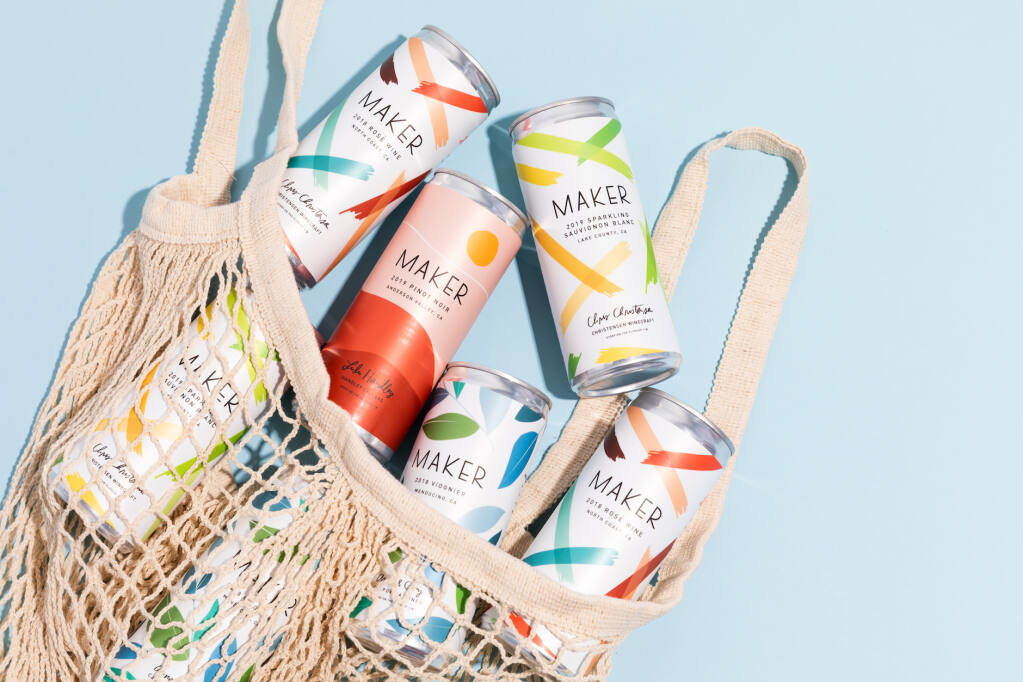 Novato-based Maker Wine Company launched in 2019 with six canned wines from five wineries. (courtesy photo)