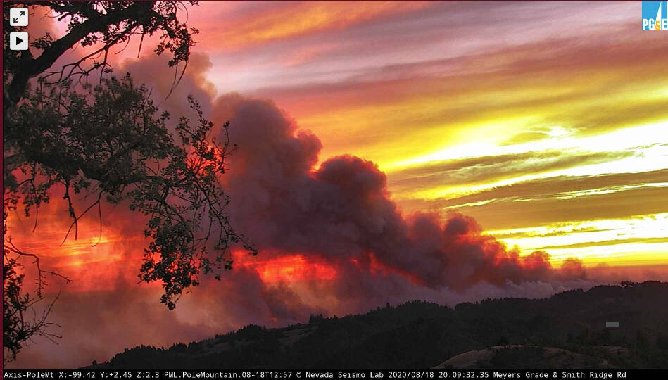 In this image from an AlertWildfire camera, the 13-4 fire burns in Sonoma County, Tuesday, Aug. 18, 2020. (alertwildfire.org)