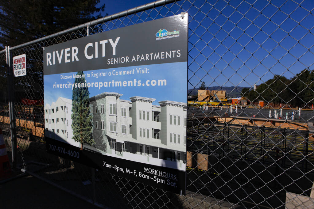 Construction continues on PEP Housing's newest project, River City Senior Apartments, located on Petaluma Boulevard South. _Petaluma, CA, USA. Tuesday, March 02, 2021. (CRISSY PASCUAL/ARGUS-COURIER STAFF)