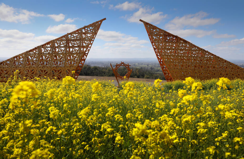 """A portion of the art installation Empyrean, by Laurence """"Renzo"""" Verbeck and Sylvia Adrienne Lisse, on a hillside at Paradise Ridge Winery in Santa Rosa on Thursday, March 4, 2021. (Christopher Chung / The Press Democrat)"""