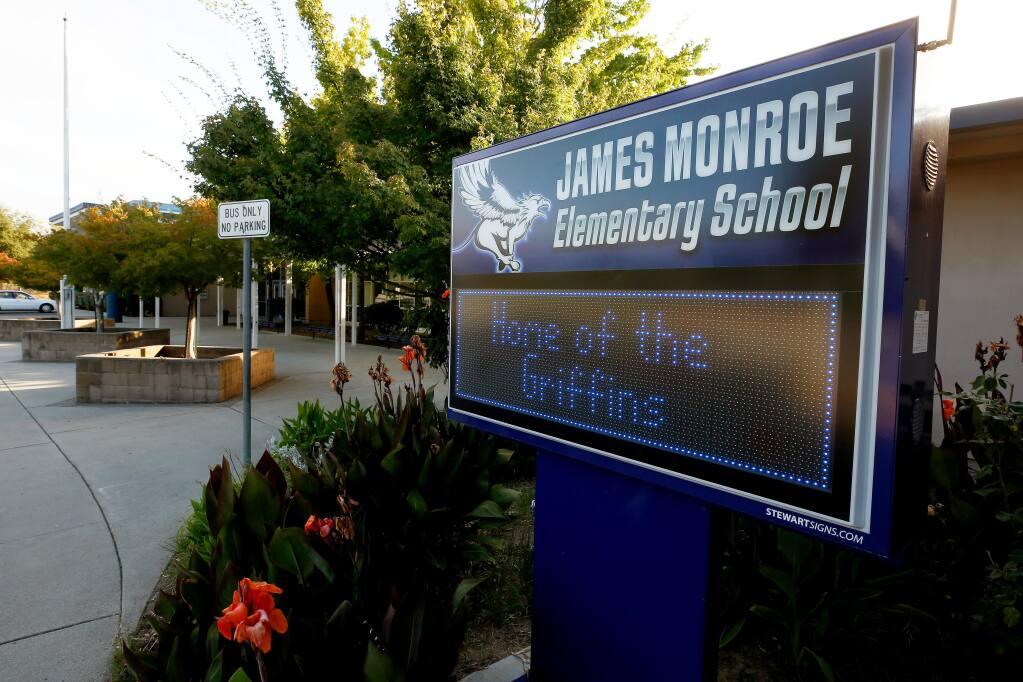 James Monroe Elementary School in Santa Rosa, California, on Tuesday, July 21, 2020. Santa Rosa City Schools trustee Omar Medina is proposing to change the name of James Monroe Elementary School to George Ortiz Elementary School, in honor of the local Latino community leader and civil rights advocate. (Alvin Jornada / The Press Democrat)