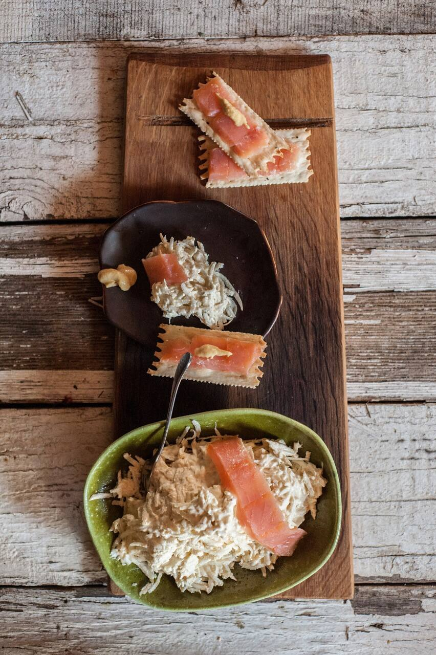 Root Vegetable Rémoulade with Smoked Salmon. (Liza Gershman)