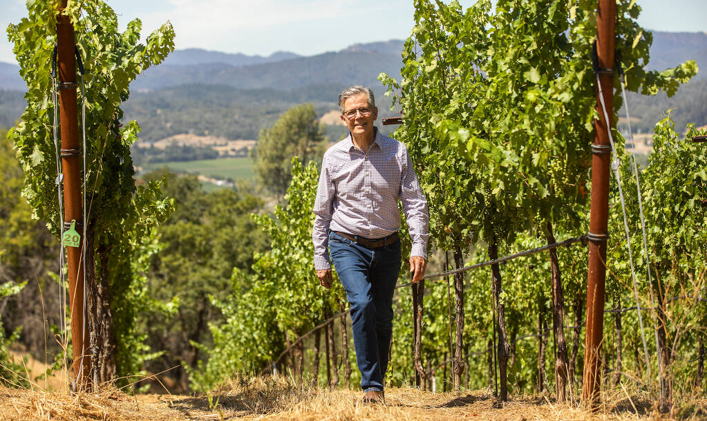 Hal Hinkle, owner of Sei Querce Wines, photographed in a vineyard in the hills above Geyserville on Friday, July 9, 2021. (John Burgess/The Press Democrat)