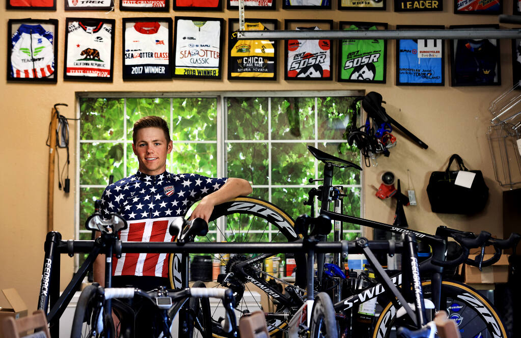 Sebastopol native Luke Lamperti, 18, Thursday, June 24, 2021, the youngest national champion in the history of the USA Pro Cycling Championships, won the criterium at the national championships in Knoxville. Lamperti is a member of the under-23 US National Team.  (Kent Porter / The Press Democrat) 2021