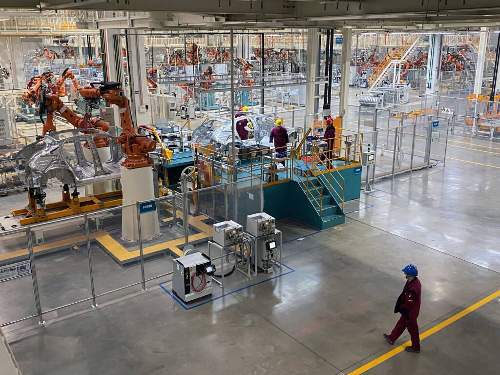 The Nio electric car factory in Hefei, China, on Dec. 4, 2020.  Fueled with money from Wall Street and local officials, Chinese automakers plan to build eight million electric cars a year there, more than Europe and North America combined. (Keith Bradsher/The New York Times)