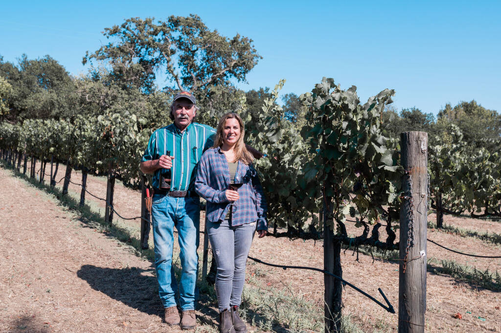 Save the Family Farms leader Elise Rutchick, right, vice president of operations for Elkhorn Peak Cellars, and her father, co-owner and grower Ken Nerlove. (Lyda Studios, July 23, 2020)
