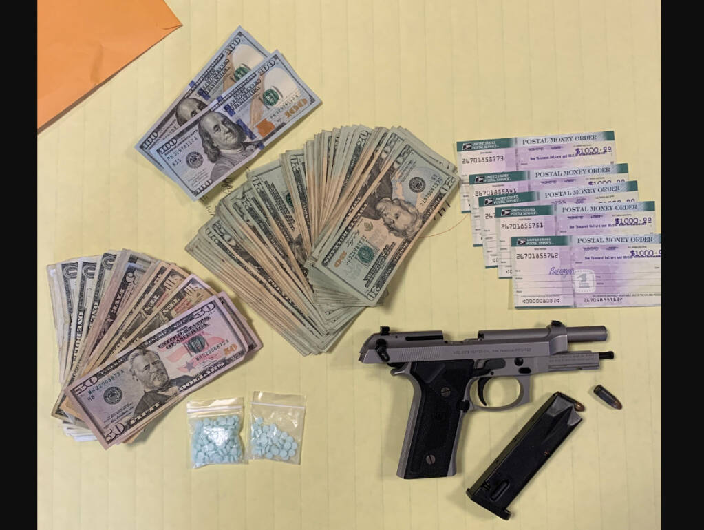 The items the Santa Rosa Police Department found inside the home of a suspect fentanyl dealer, Wednesday, Aug. 7, 2020, leading to his arrest. (Santa Rosa Police Department)