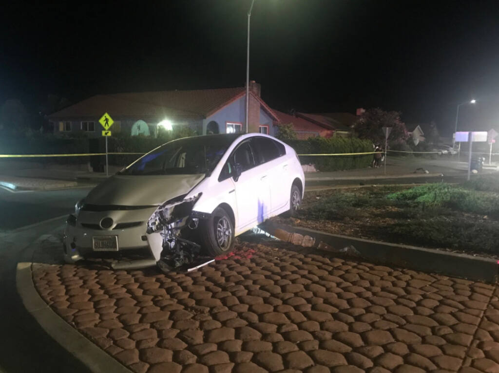 A pedestrian died after being hit by a suspected DUI driver in Petaluma on Tuesday, Sept. 22, 2020. (Petaluma Police Department)