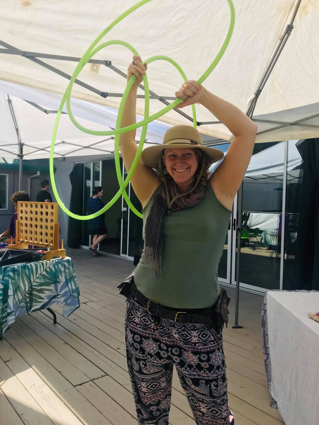 Kat Cortwright participates in the Peacetown Family Village in 2019
