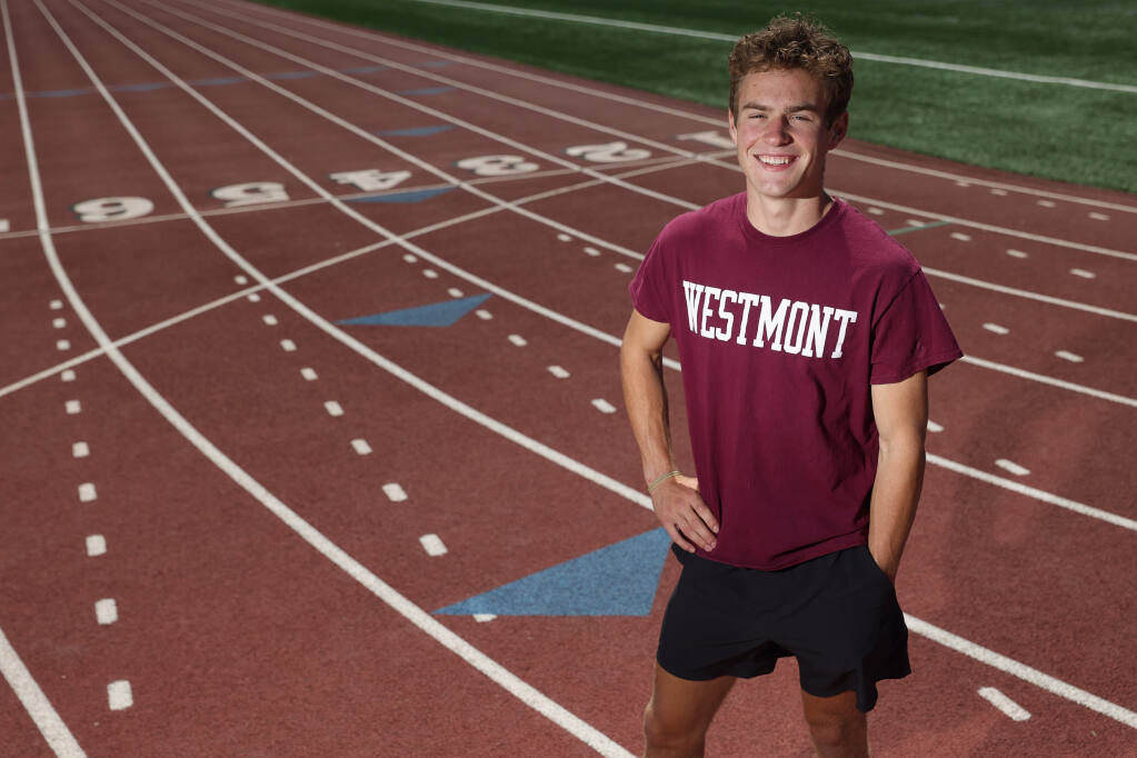 Graduating senior Jack Vanden Heuvel was able to make the most of his shortened track season by running impressive times and breaking school records in the 800-meter distance (1:55.14) and the 1,600 (4:15.63).  Vanden Heuvel will be attending Westmont College in the fall.  (Christopher Chung / The Press Democrat)