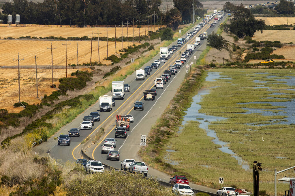 Rep. Mike Thompson and Rep. Jared Huffman have earmarked $7 million in federal funding  in the INVEST Act for improvements for Highway 37 as global warming threatens the link between Vallejo and Novato with rising sea levels.  (Photo by John Burgess/The Press Democrat)