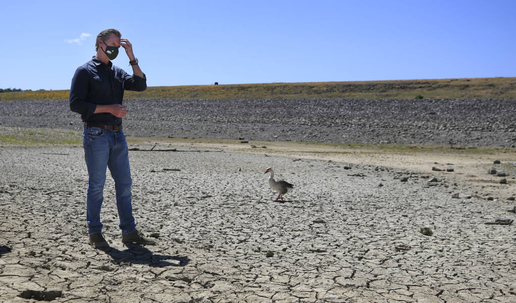 Gov. Gavin Newsom shares the dried basin of Lake Mendocino with a resident goose as he listens to local water officials answer questions from the media, Wednesday, April 21, 2021. Newsom announced he would proclaim a drought emergency for Mendocino and Sonoma counties.  (Kent Porter / The Press Democrat) 2021