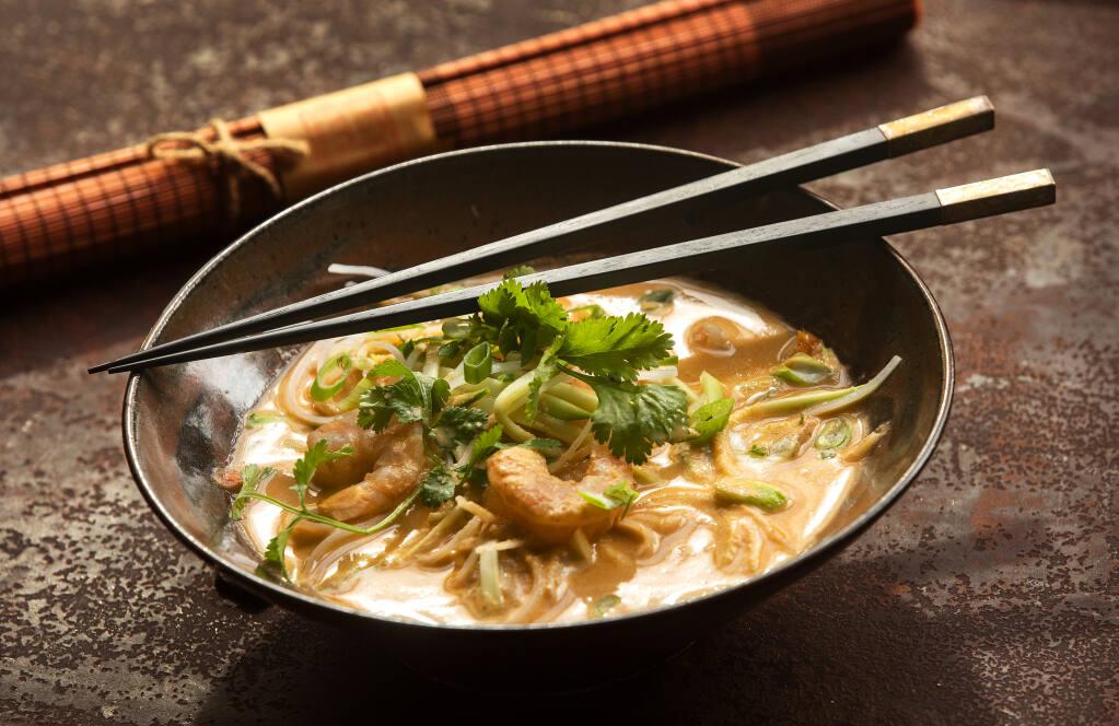 Shrimp and Noodle Soup with Laksa from chef John Ash. (John Burgess / The Press Democrat)