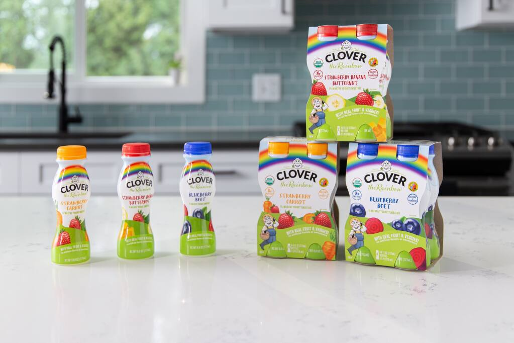 A new line of Clover the Rainbow smoothies help kids eat the rainbow of fruits and vegetables. (Clover Sonoma)