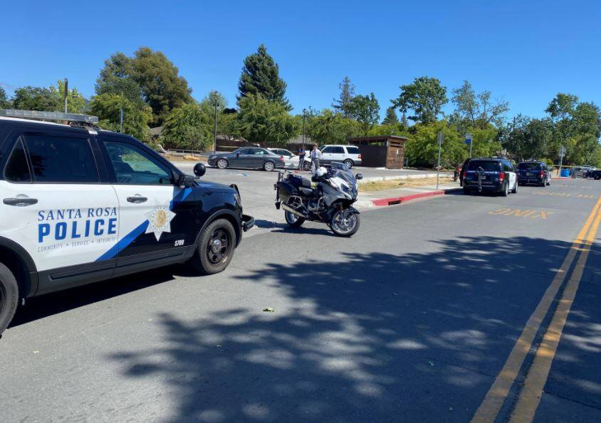 Santa Rosa police at the scene of a shooting in the   Bayer Park & Gardens parking lot in Santa Rosa on Tuesday, June 9, 2021. (Santa Rosa Police Department / Facebook)