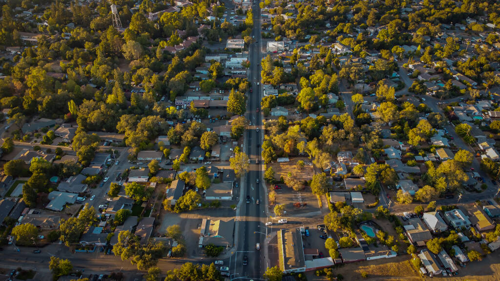 Sonoma's Springs neighborhood and Highway 12 looking north, from above. Oct. 30, 2020. (The Press Democrat)