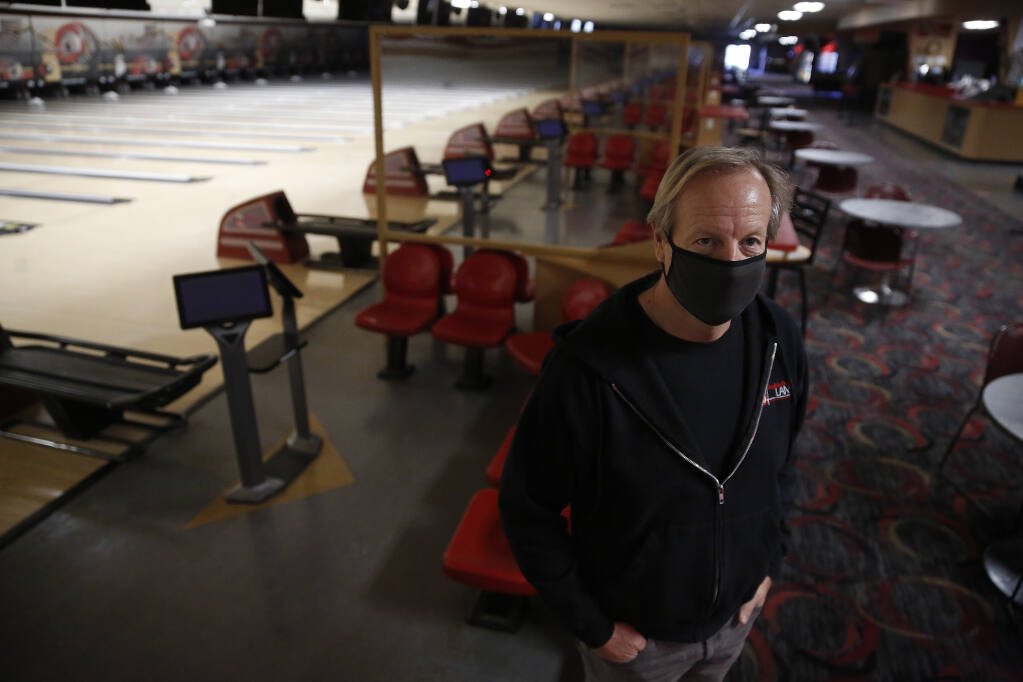 Jim Decker, owner of Double Decker Lanes, a bowling alley in Rohnert Park, Calif., on Monday, January 11, 2021. (Beth Schlanker/ The Press Democrat)