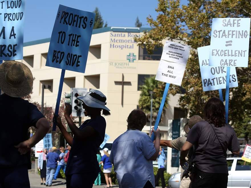 (FILE PHOTO) Nurses strike at Santa Rosa Memorial Hospital on Wednesday, October 3, 2012. (Christopher Chung/ The Press Democrat)