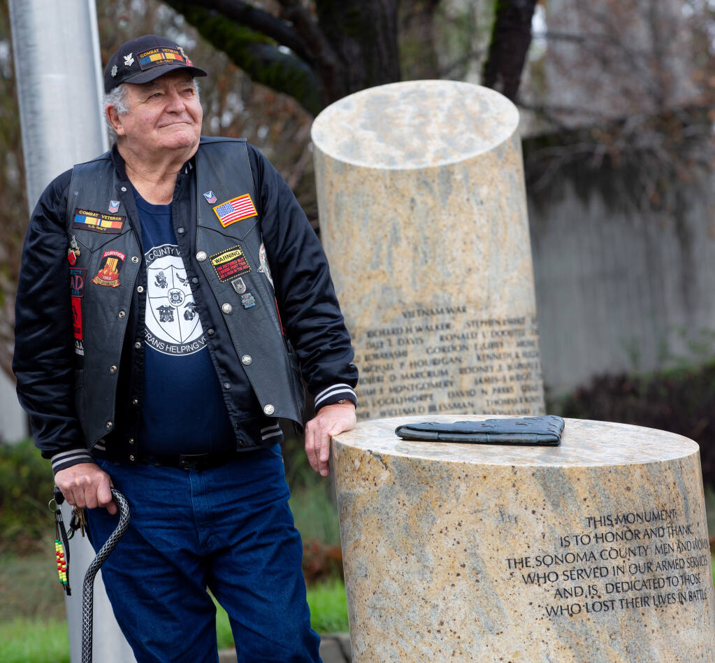 Sonoma County Vet Connect president Richard Jones at the city hall veterans monument in Santa Rosa, California, on Friday, Jan. 8, 2021. (Alvin A.H. Jornada / The Press Democrat)