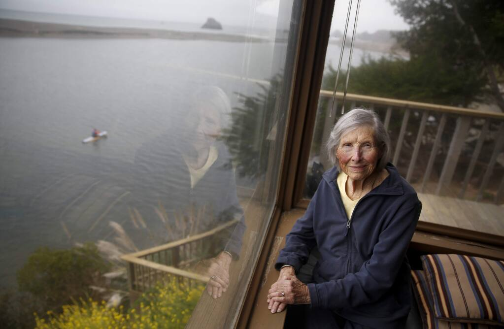 2019: Elinor Twohy was instrumental to the banning of dogs from the north end of Goat Rock Beach and to the founding of Stewards of the Coast and Redwoods, whose volunteers stand post to protect and educate about the seals. She passed away on March 22 at age 97. (Beth Schlanker / The Press Democrat)